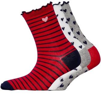 Lovestruck Womens Three Pack Frill Socks AOP Heart