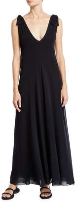 Fuzzi Solid Tie-Shoulder Sleeveless Double Maxi Dress