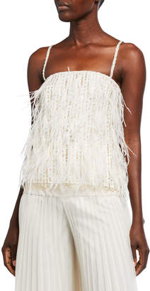 Monique Lhuillier Feather-Embroidered Lace Camisole
