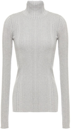Helmut Lang Metallic Ribbed Merino Wool-blend Turtleneck Sweater