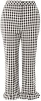 Topshop Gingham Frill Hem Trousers