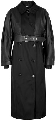 Burberry Black leather and ECONYL trench coat