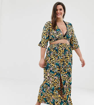 Asos DESIGN Curve tropical animal print maxi skirt with split front two-piece-Multi