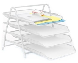 Mind Reader 4 Tier Mesh Paper File Tray, Desk Organizer with 4 Sliding Trays
