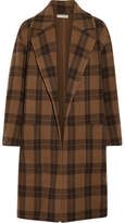 Vince Checked Wool-blend Coat - Brown