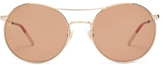Gucci Aviator Metal Sunglasses - Womens - Brown Gold
