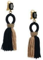 Oscar de la Renta Short Colorblock Silk Tassel Clip-On Earrings