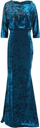Badgley Mischka Draped Embellished Crushed-velvet Gown