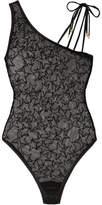 Le Petit Trou - Honorine Asymmetric Flocked Stretch-tulle Bodysuit - Black