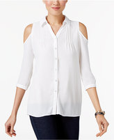 NY Collection Petite Cold-Shoulder Blouse