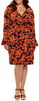 London Times Long Sleeve Floral Wrap Dress-Plus
