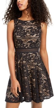 City Studios Juniors' Allover-Lace Dress