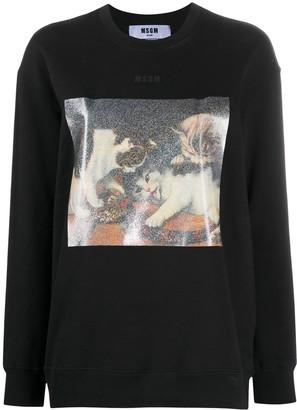 MSGM Kittens Graphic Sweatshirt