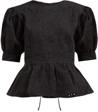 Sir - Cherie Eyelet Lace Cotton Poplin Peplum Blouse - Womens - Black
