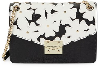Karl Lagerfeld Paris Floral Leather Crossbody Bag