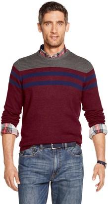 Izod Big & Tall Striped Crewneck Sweater