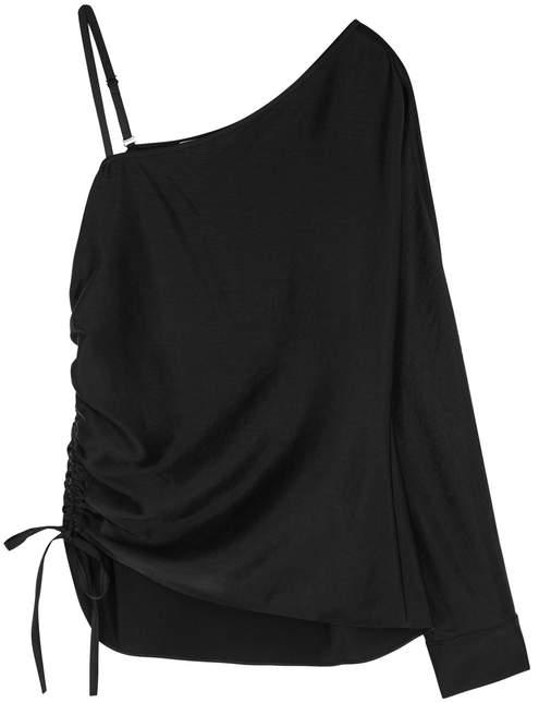 Alexander Wang Black One-shoulder Satin Top