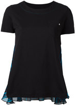 Versus sheer panel T-shirt - women - Cotton/Silk - 40