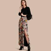 Burberry Floor-length Floral Print Silk Skirt