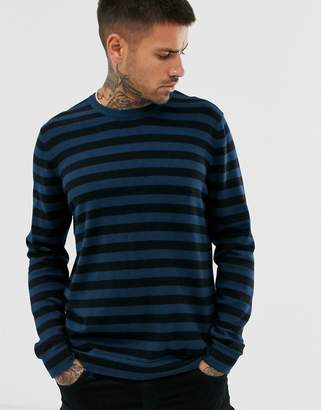 ONLY & SONS crew neck knitted jumper in blue stripe