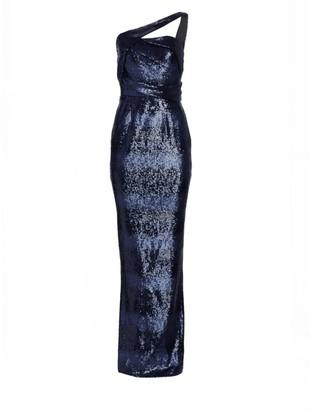 Rubin Singer One-Shoulder Sequin Column Gown