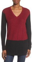 Vince Camuto Women's Colorblock Waffle Stitch V-Neck Sweater