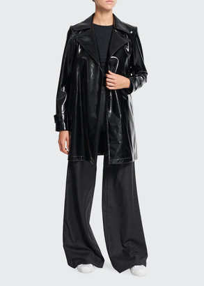 Theory Oaklane Short Faux-Patent Belted Trench