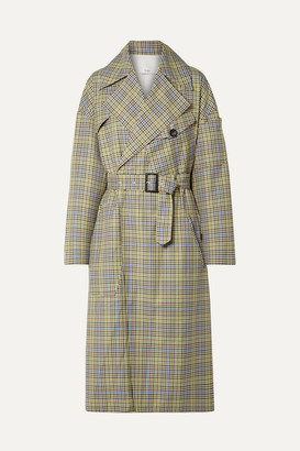 Tibi Belted Checked Woven Trench Coat - Green