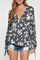 Love Stitch Lovestitch Printed Surplice Top