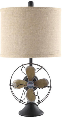 """Crestview Collection Antique Fan Table Lamp, 24.5"""" Height, Metal And Resin Iron Finish"""