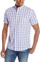 Izod Men's Short Sleeve Non-Iron Large Plaid Shirt
