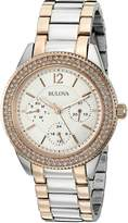 Bulova Women's 98N100 Multi-Function Crystal Bracelet Watch, White