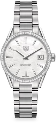 Tag Heuer Carrera 32MM Stainless Steel, Mother-of-Pearl & Diamond Quartz Bracelet Watch