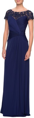 La Femme Illusion Yoke Twist Front Jersey Gown