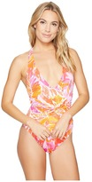 Lauren Ralph Lauren Lush Tropical Shaping Plunge Twist One-Piece w/ Removable Cups Women's Swimsuits One Piece