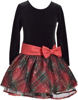 Bonnie Jean Girls 4-6x Velvet Plaid Taffeta Dress