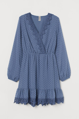 H&M Lace-detail Plumeti Dress - Blue