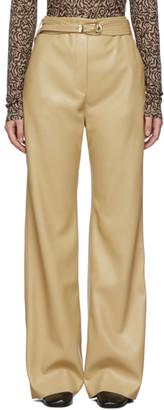Nanushka Tan Vegan Leather Kisa Trousers