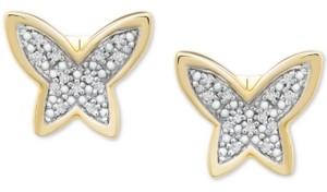 Wrapped Diamond Butterfly Stud Earrings (1/20 ct. t.w.) in 14k Gold, Created for Macy's