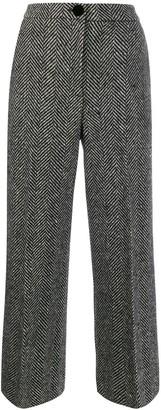 ALEXACHUNG Cropped Herringbone Trousers