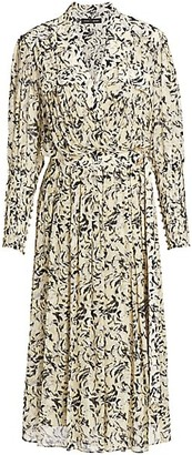 Proenza Schouler Abstract Print Wrap Midi Dress