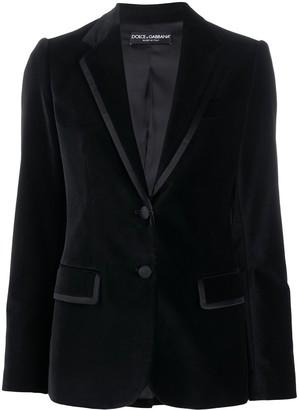 Dolce & Gabbana Velvet Silk-Trim Blazer