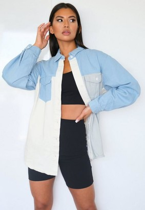 Missguided Blue Patchwork Oversized Denim Shirt