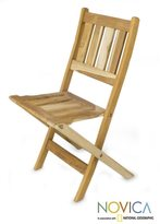 Novica Handcrafted Teakwood 'Mexican Sierra' Folding Chair (Mexico)
