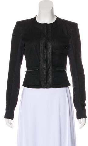A.L.C.Leather-Trimmed Evening Jacket