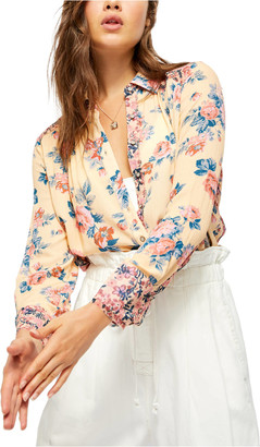 Free People Hold On To Me Printed Top Coral XS