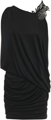 BA&SH Open-back Embellished Ruched Stretch-jersey Mini Dress