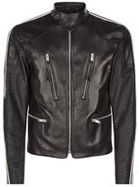 Alexander McQueen Python Sleeve Leather Biker Jacket