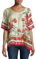 Johnny Was Secret Garden Floral Silk Georgette Top, Red Pattern, Plus Size