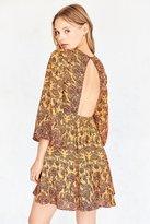 Ecote Tyler Split-Neck Bell-Sleeve Mini Dress